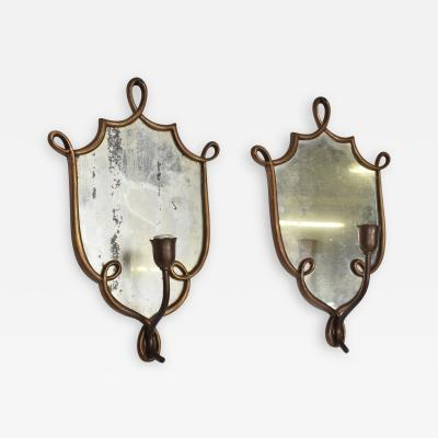 Gio Ponti Mid Century Modern Italian Wall Sconces after Gio Ponti Antique Mirror Brass