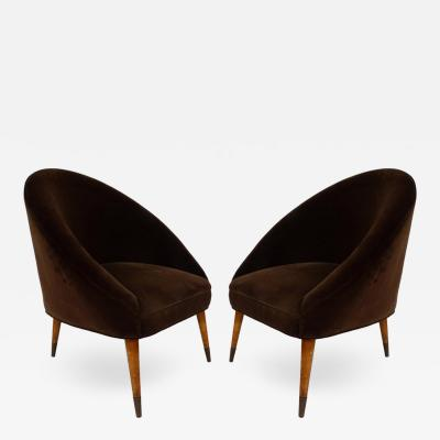 Gio Ponti Midcentury Gio Ponti Style Club Chairs Pair