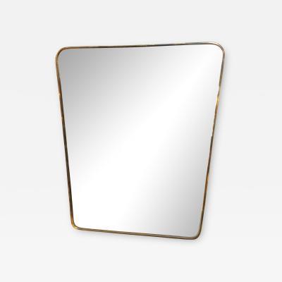 Gio Ponti Midcentury Italian Wall Mirror Gio Ponti Attributed 1950s Side Brass Frame