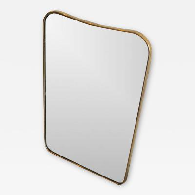 Gio Ponti Mirror with brass edge in the style of Gio Ponti