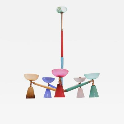 Gio Ponti Mulitcolored Murano Glass Chandelier in the Style of Gio Ponti