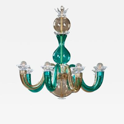 Gio Ponti Murano Colored Glass 8 Arm Chandelier