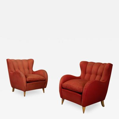 Gio Ponti Pair 40s Armchairs Attributed to Gio Ponti