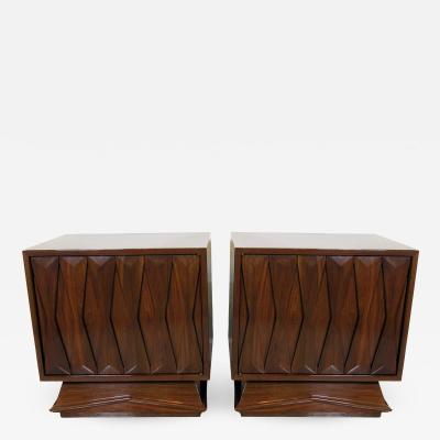 Gio Ponti Pair Italian Modern Bedside Tables Style of Gio Ponti