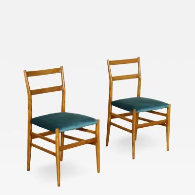 Gio Ponti Pair Of Chairs Gio Ponti Ash Tree Foam Velvet 1950s 1960s