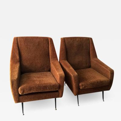 Gio Ponti Pair of 1960s Italian Sofa Armchairs in the Manner of Gio Ponti