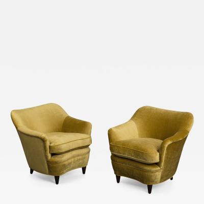 Gio Ponti Pair of Antiqued Velvet Armchairs