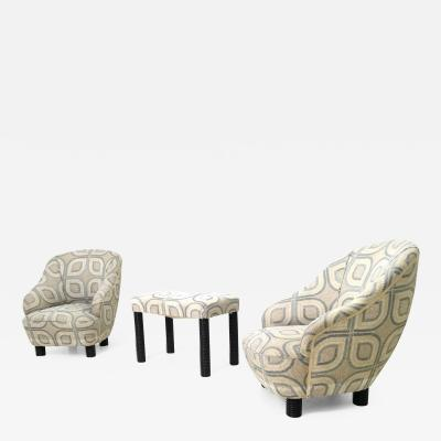 Gio Ponti Pair of Armchairs and an Ottoman by Gio Ponti Italy 1930s