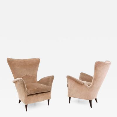 Gio Ponti Pair of Beige Velvet Armchairs Ascribable to Gio Ponti for Hotel Bistrol 1950s