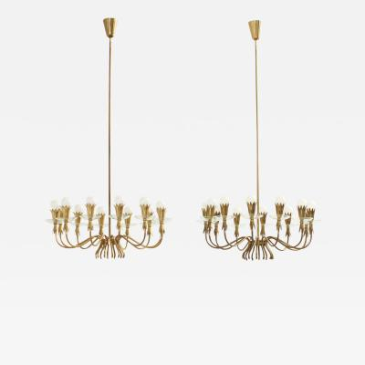 Gio Ponti Pair of Brass and Glass Chandeliers in the Manner of Gio Ponti Italy 1940s