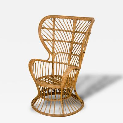 Gio Ponti Pair of Fan Back Rattan Chairs by Gio Ponti