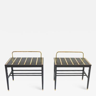Gio Ponti Pair of Gio Ponti Black Walnut Lacquered Side Tables from Hotel Royal Naples