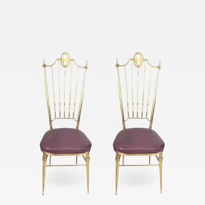 Gio Ponti Pair of High Back Italian Brass Chairs