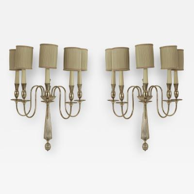 Gio Ponti Pair of Italian Art Deco Nickeled Bronze 5 Scroll Arm Wall Sconces