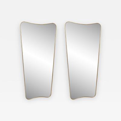 Gio Ponti Pair of Italian Large Brass Mirrors Style of Gio Ponti
