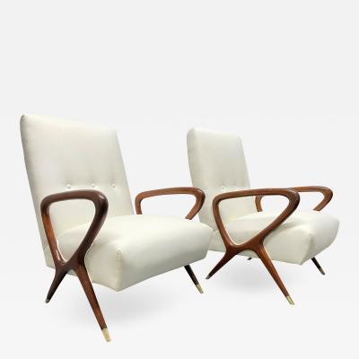 Gio Ponti Pair of Italian Lounge Chairs Style of Gio Ponti