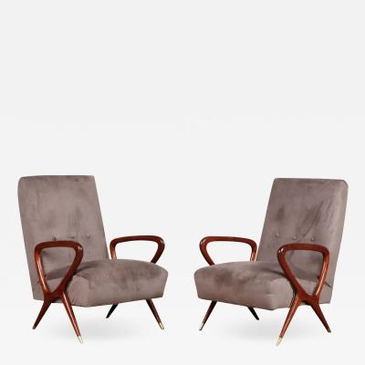 Gio Ponti Pair of Italian Lounge Chairs style of Gio Ponti