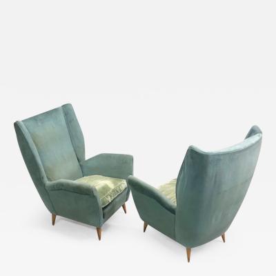 Gio Ponti Pair of Italian Midcentury Hi Back Lounge Chairs Armchairs by Gio Ponti 1955