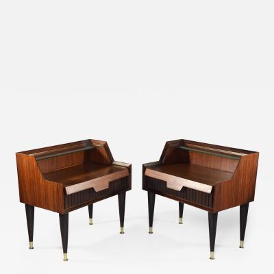 Gio Ponti Pair of Italian Midcentury Nightstands In the Manner of Gio Ponti