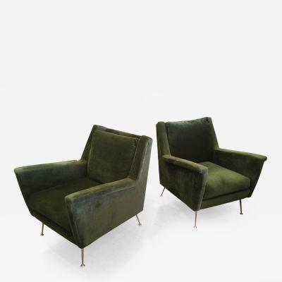 Gio Ponti Pair of Italian Modern Lounge Armchairs style of Gio Ponti