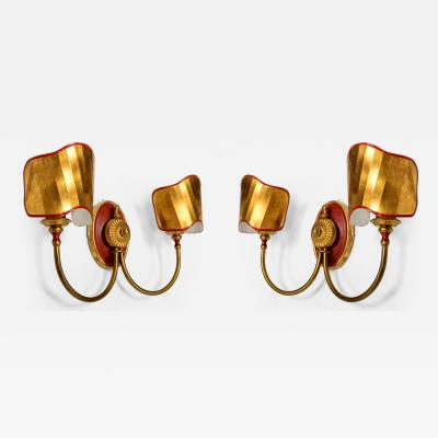 Gio Ponti Pair of Italian Wall Sconces with Brass Shield in the Ponti Style