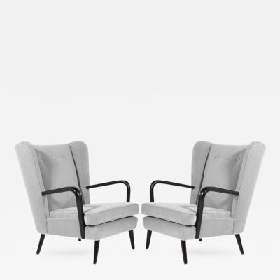 Gio Ponti Pair of Italian Wingback Chairs in the Style of Gio Ponti