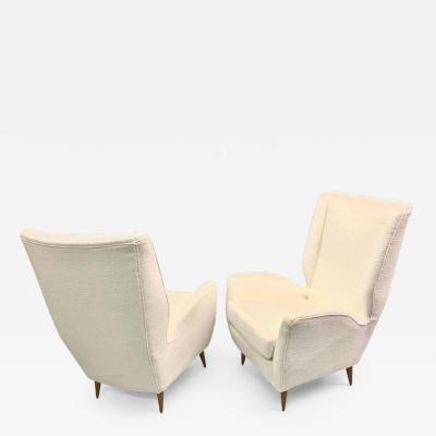 Gio Ponti Pair of Italian Wingback Lounge Chairs Armchairs by Gio Ponti Model 512