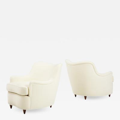 Gio Ponti Pair of Ivory Velvet Armchairs or Lounge Chairs