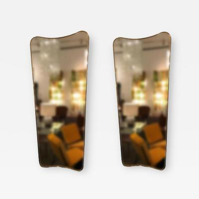 Gio Ponti Pair of Large Scaled Mid Century Wall Mirrors in Brass in the style of Gio Ponti