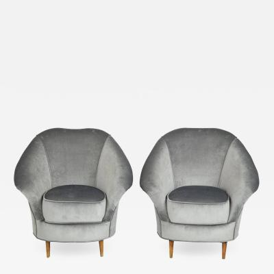 Pair of Lounge Chairs in the Style of Gio Ponti in Grey Velvet, Italy