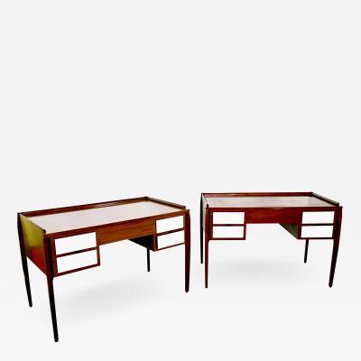 Gio Ponti Pair of Mahogany Writing Desks in the style of Gio Ponti Italy 1950s 1960s