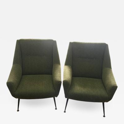 Gio Ponti Pair of Mid Century Modern Gio Ponti Style Armchairs Italy circa 1950