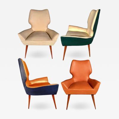 Gio Ponti Pair of Mid Century Modern Gio Ponti Style Chairs 1950s
