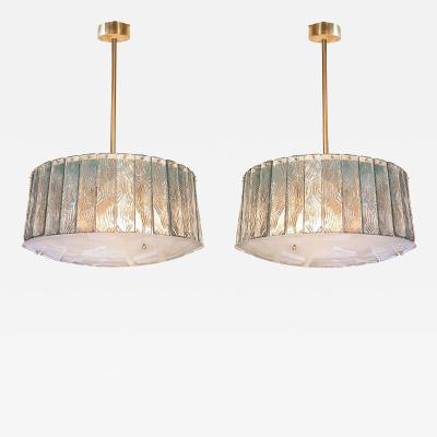 Gio Ponti Pair of Mid Century Modern Glass Brass Chandeliers Gio Ponti style