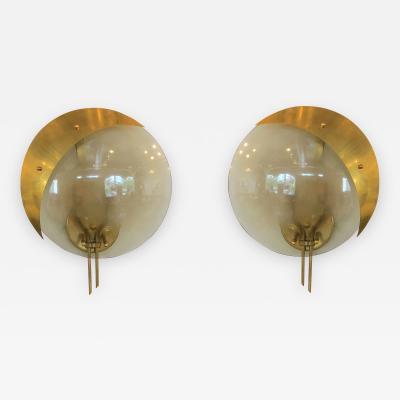 Gio Ponti Pair of Mid Century Modern Italian Attributed to Gio Ponti Murano Sconces