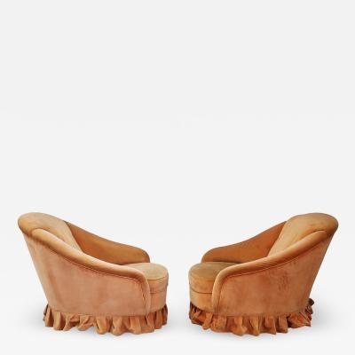 Gio Ponti Pair of Midcentury Armchairs by Gio Ponti in Orange Original Velvet 1930s