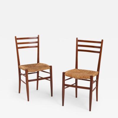 Gio Ponti Pair of Midcentury Teak and Rush Chairs by Otto Gerdau
