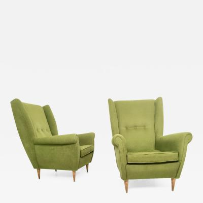 Gio Ponti Pair of Olive Green Armchairs in the style of Gio Ponti Italy 1950s