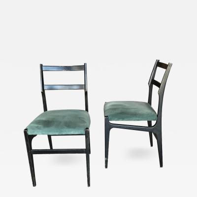 Gio Ponti Pair of Rare Gio Ponti Leggera Dining Chairs with Original Fabric