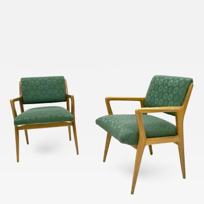 Gio Ponti Pair of Solid Walnut Armchairs in the Style of Gio Ponti Italy 1950s
