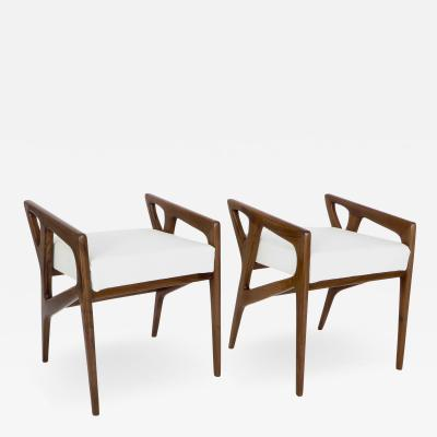 Gio Ponti Pair of Stools by Italian Architect Gio Ponti with Upholstered Seats