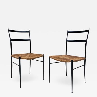 Gio Ponti Pair of Superlegga Style Chairs Metal Black Enameled Finish style of Gio Ponti