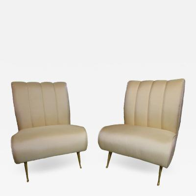 Gio Ponti Pair of Upholstered Slipper Chairs