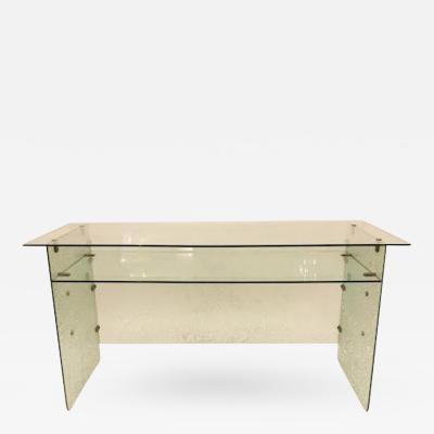 Gio Ponti Rare Large All Glass Mid Century Desk attributed to Gio Ponti