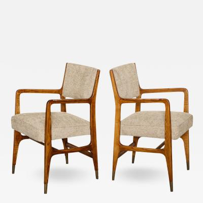 Gio Ponti Rare Pair of Arm Chairs by Gio Ponti