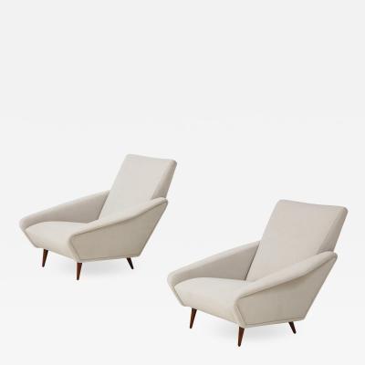 Gio Ponti Rare Pair of Distex Lounge Chairs Model 807