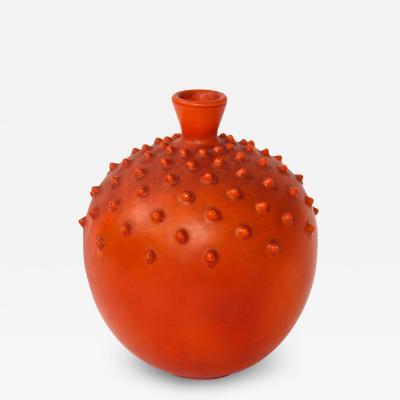 Gio Ponti Red textured gourd shape vase by Gio Ponti for Ginori