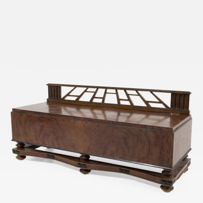 Gio Ponti Sculptural Bench Art Deco Attributed to Gio Ponti in Walnut Burl circa 1930s