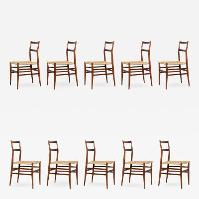 Gio Ponti Set of 10 Superleggera Chairs by Gio Ponti