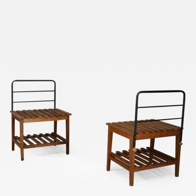 Gio Ponti Set of 4 Benches or luggage racks 1950s attributed Gio Ponti